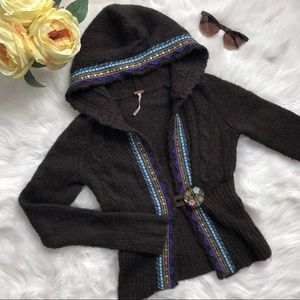 Free People hooded cardigan w/ hand painted button